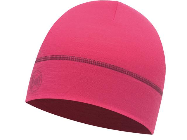 Buff Merino Wool Hat Solid Wild Pink